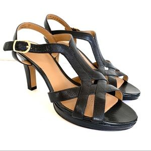 Clarks Black Leather Strappy Comfort High Heels